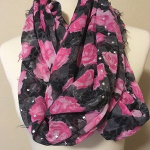Pink & Grey Studded Infinity Scarf